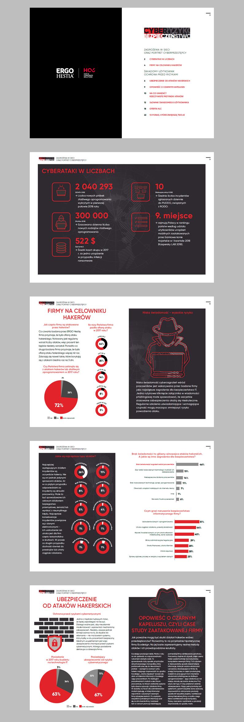 widok elektronicznej ulotki - czarne i czerwone infografiki