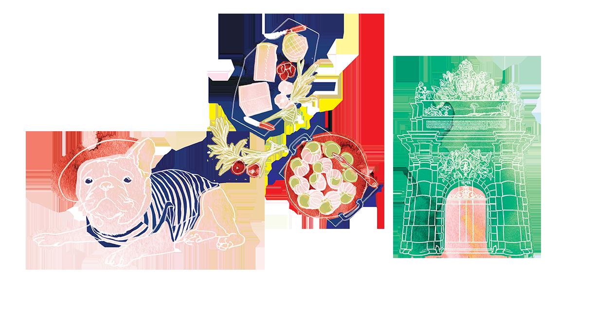 ilustracja przedstawiająca psa, bramę i jedzenie