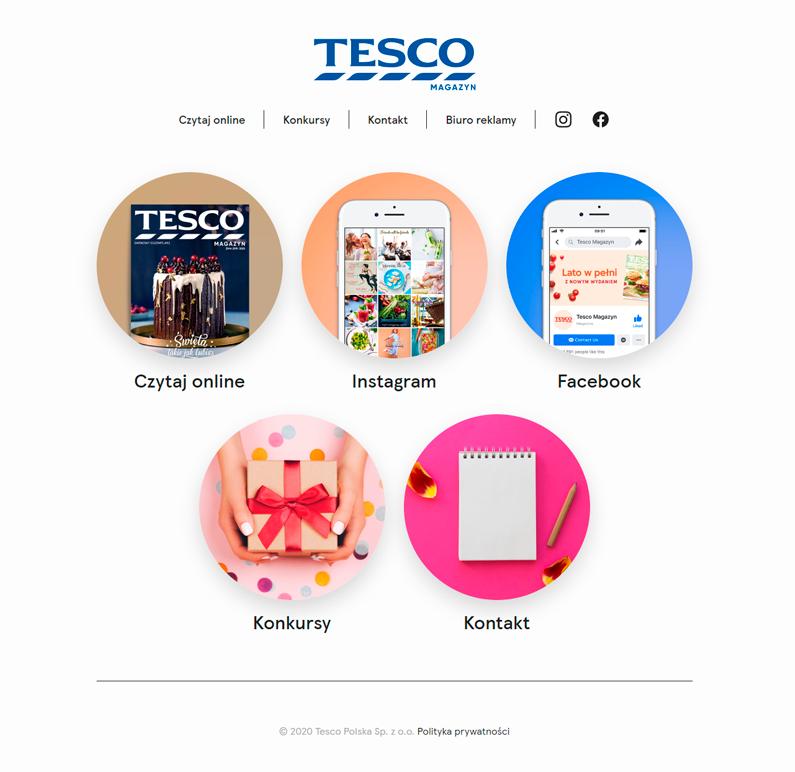 wizualizacja strony tesco magazynu - 5 ikon przedstawiających różne funkcjonalności